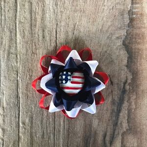 Other - Red White and Blue Flower Loop hair bow